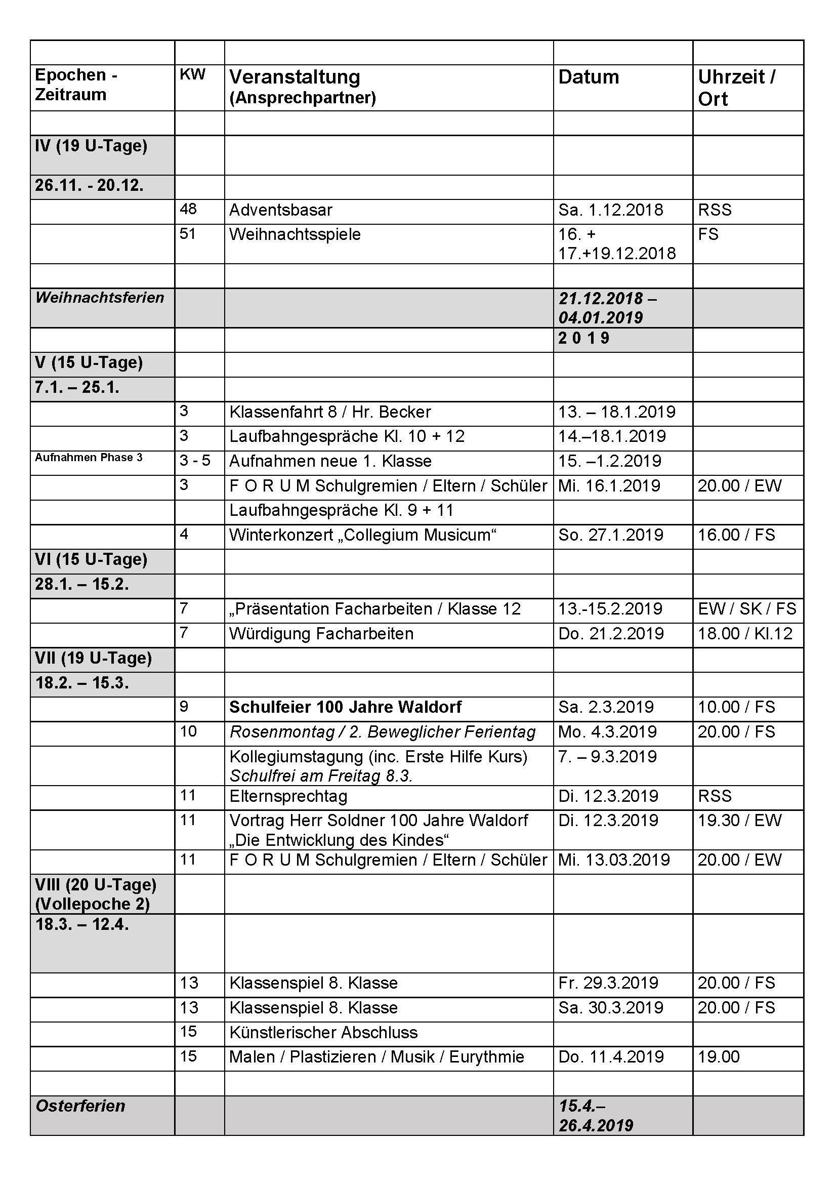 neu terminkalender 2018 19 rudolf steiner schule siegen